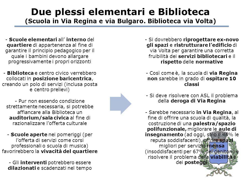 Due plessi elementari e Biblioteca (Scuola in Via Regina e via Bulgaro.