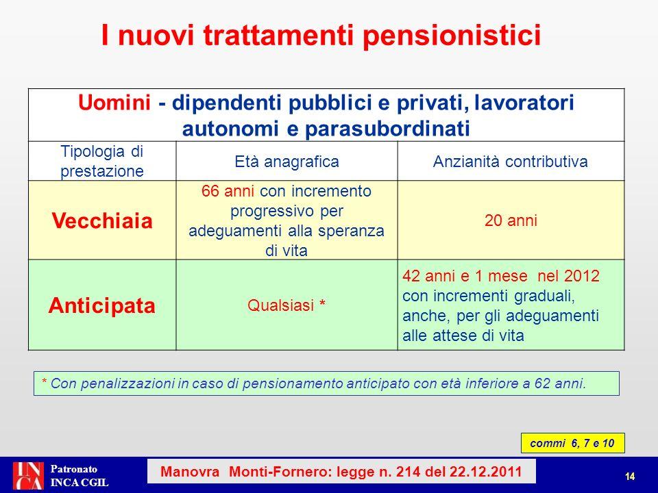 Patronato INCA CGIL * Con penalizzazioni in caso di pensionamento anticipato con età inferiore a 62 anni.