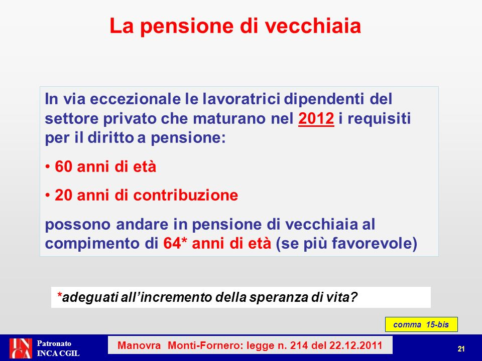 Patronato INCA CGIL La pensione di vecchiaia 22 Manovra Monti-Fornero: legge n.