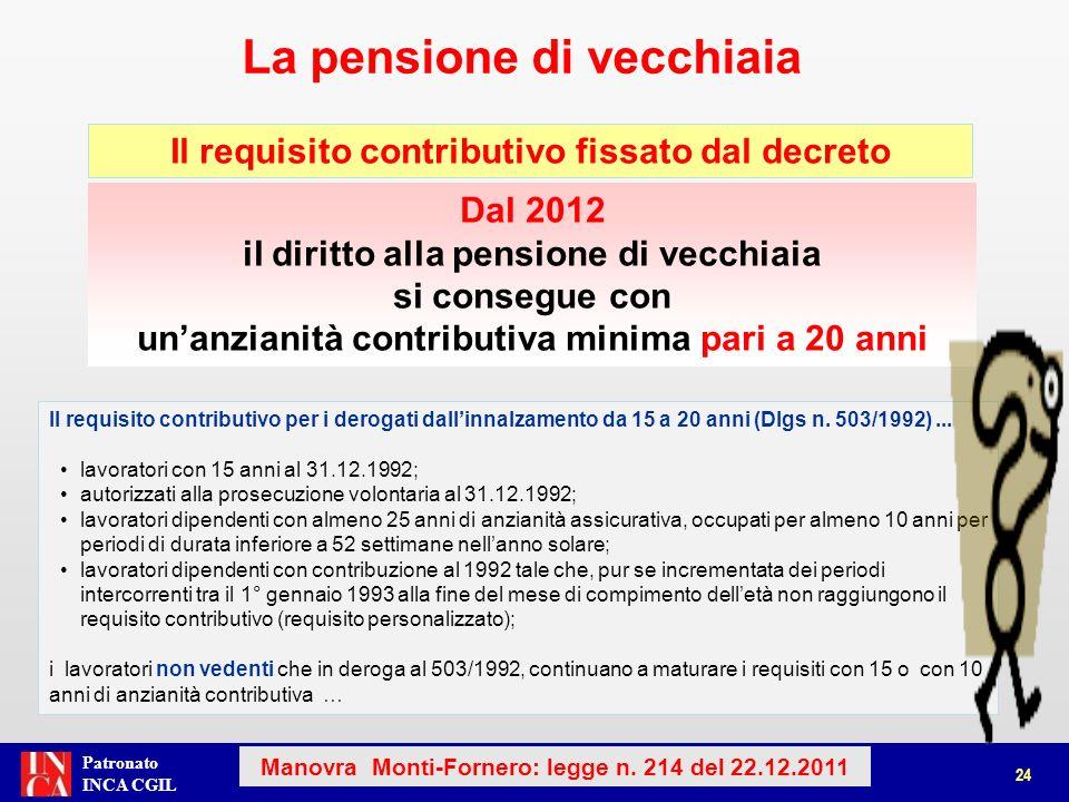 Patronato INCA CGIL La pensione di vecchiaia 25 Manovra Monti-Fornero: legge n.