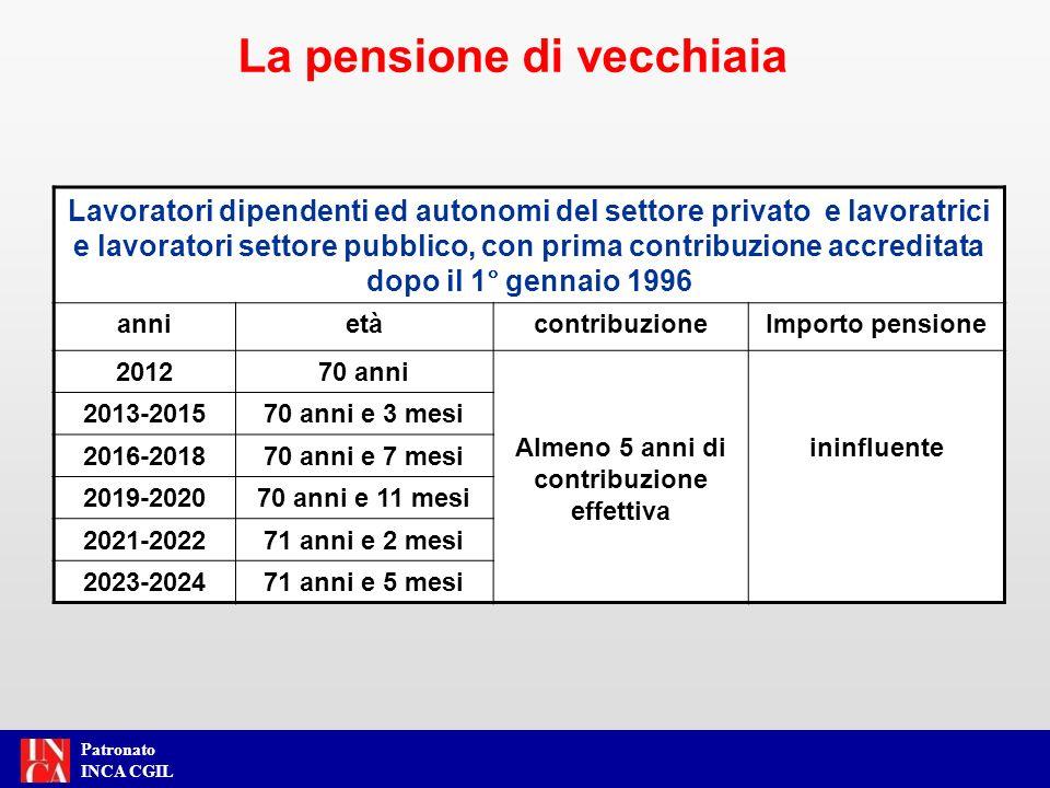 Patronato INCA CGIL La pensione anticipata si consegue al raggiungimento della anzianità contributiva prevista per gli assicurati prima del 1° gennaio 1996, adeguata alla speranza di vita (art.