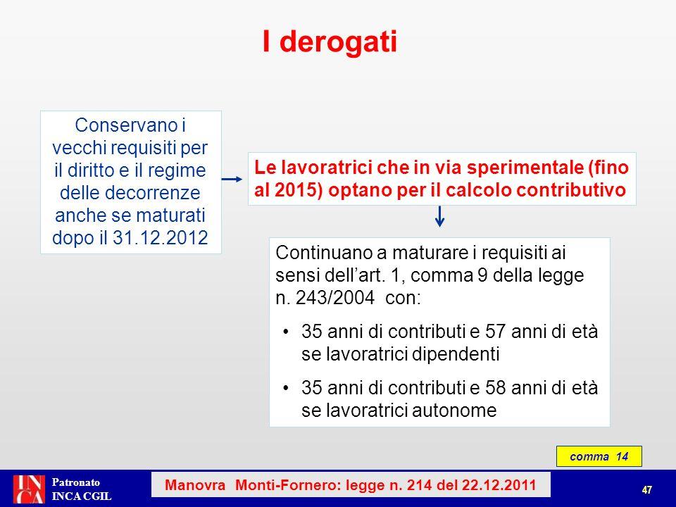 Patronato INCA CGIL Lavoratrici che in via sperimentale optano per il calcolo contributivo comma 14 I derogati 48 Manovra Monti-Fornero: legge n.