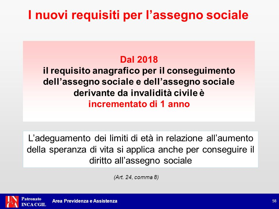 Patronato INCA CGIL Requisiti anagrafici per lassegno sociale Periodo dal al Aumento speranza di vita (anni e mesi) Età minima (anni) Età con aumento (anni e mesi) Decorrenza 1.1.2012--31.12.2012-- 65 1° giorno del mese successivo a quello di maturazione dei requisiti 1.1.2013--31.12.20133 65 e 3 1.1.2014--31.12.2015-- 1.1.2016--31.12.2017465 e 7 1.1.2018--1.12.2018-- 66 66 e 7 1.1.2019--1.12.2020466 e 11 1.1.2021--1.12.2022367 e 2 Le prestazioni in favore degli invalidi civili e dei non udenti saranno trasformate in assegno sociale non più a 65 anni ma al compimento delletà anagrafica richiesta per il diritto allassegno sociale comma 8 59 Manovra Monti-Fornero: legge n.