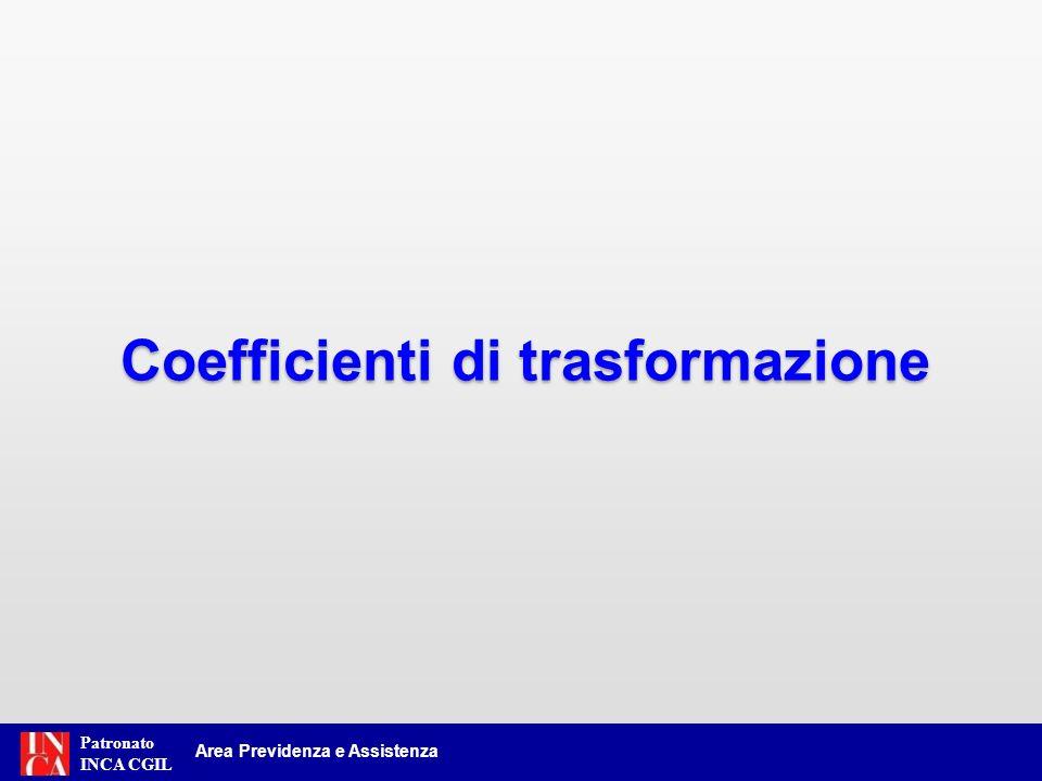 Patronato INCA CGIL I coefficienti di trasformazione utilizzati per il calcolo con il sistema contributivo, nella prossima revisione triennale (1.1.2013), verranno ridefiniti fino alla età di 70 anni (indicizzati).
