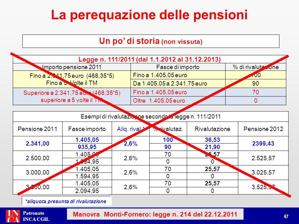 Patronato INCA CGIL Dal 1.1.2012 al 31.12.2013 Importo pensioneFasce di importo% di rivalutazione Pensioni fino a 3 volte il TM Quota di pensione fino a 3 volte il TM100 Pensioni superiore a 3 volte il TM Quota di pensione fino a 3 volte il TM0 Dal 1.1.2012 al 31.12.2013 Importo pensione 2011Fasce di importo% di rivalutazione Fino a 1.405,05 euro (468,35*3) Fino a 1.405,05 euro100 Superiore a 1.405,05 euro (468,35*3) Fino a 1.405,05 euro0 68 (Art.