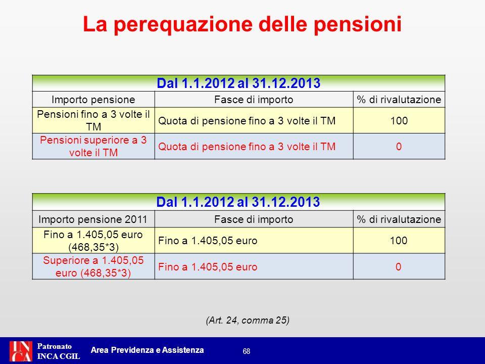 Patronato INCA CGIL È prevista una norma di salvaguardia per le pensioni di importo compreso tra 3 volte il trattamento minimo Inps e il medesimo importo incrementato della rivalutazione automatica.