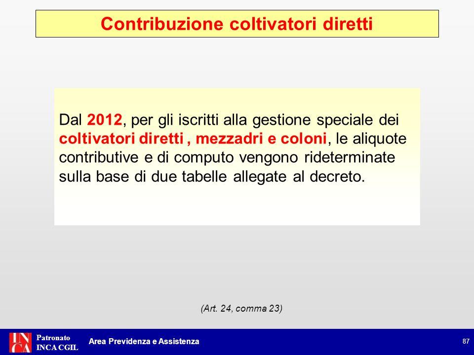 Patronato INCA CGIL Casse libero professionali 88 Area Previdenza e Assistenza (Art.
