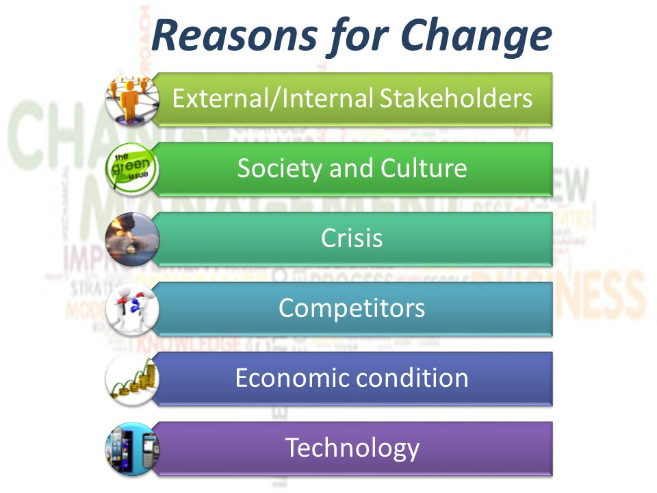 Barriers to change Leadership Lack of vision, bad decisions Fear to fail and to be blamed Inertia Management Fear to be inadequate for new tasks Fear to appear weak or eccessively strict with long time collaborators Inertia Stakeholders Fear to lose job, fear to have to move somewhere else..