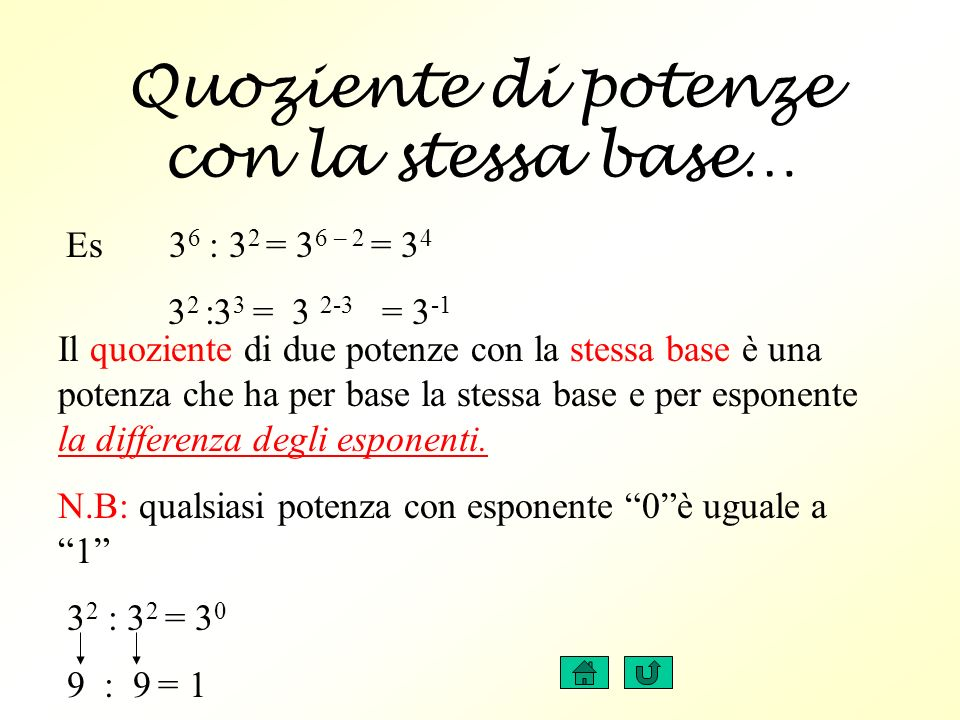Quoziente di potenze con la stessa base… Il quoziente di due potenze con la stessa base è una potenza che ha per base la stessa base e per esponente la differenza degli esponenti.