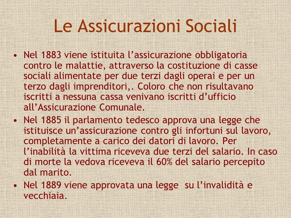 In Italia Giulio Bizzozzero, patologo generale a Torino, inaugurando lanno accademico 1883-84 afferma : Voi udite, e udrete sempre più parlare di questioni sociali.