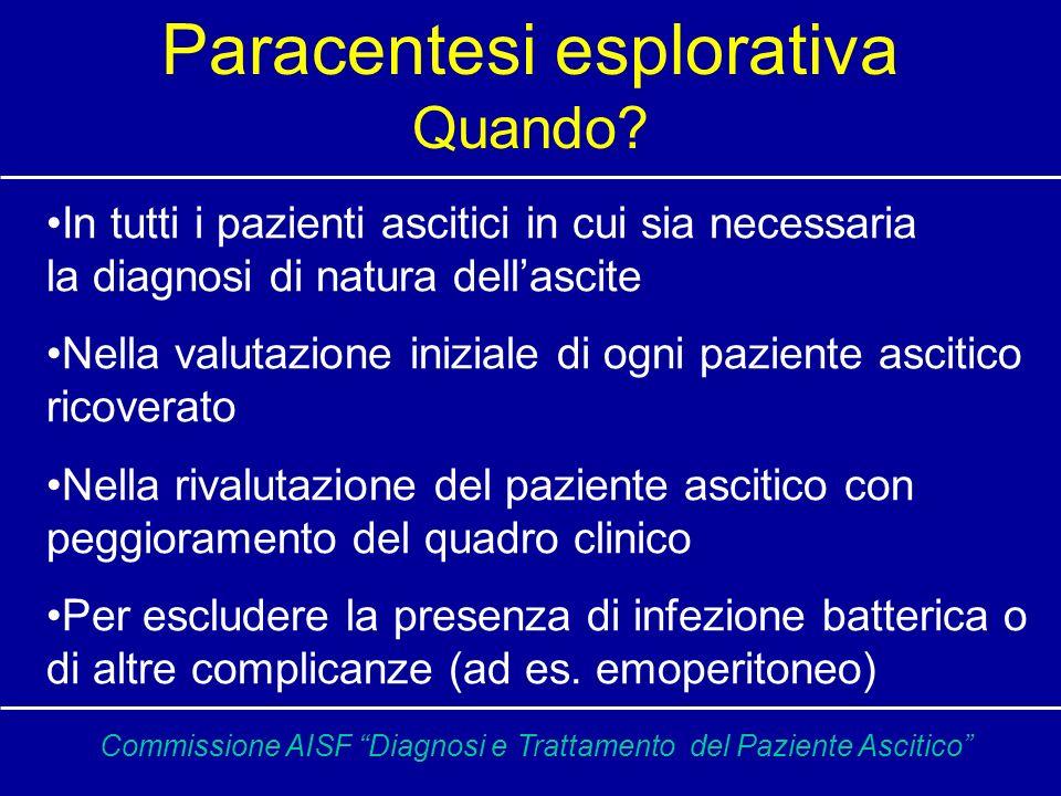 Paracentesi CONTA DEI NEUTROFILI > 250 mmc indica PBS ALBUMINA E SAAG (SIERO/ASCITE) >1.1 ipertensione portale <1.1 altre cause PROTEINE TOTALI < 1g/dl rischio elevato di PBS COLTURA IN BRODO In casi selezionati sono utili: -esame citologico -glucosio (infezioni) -LDH (infezioni) -amilasi (pancreatite) -bilirubina (perforazione vie biliari) -esame microscopico, colturale e ricerca DNA (PCR) per BK