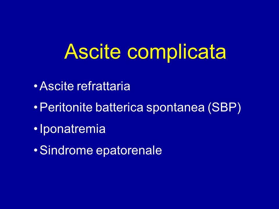Ascite Refrattaria Ascite (grado 2 o 3) che ricompare entro 4 settimane da paracentesi totale Ascite che non risponde allo schema terapeutico massimale (dieta iposodica + Spironolattone 400 mg/die + Furosemide 160 mg/die) Comparsa di iponatriemia, insufficienza renale, encefalopatia per basse dosi di diuretici