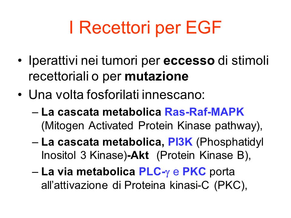 K R K R K Tumor response Metastasis Invasion Proliferation Inibition of apoptosis Angiogenesis The concept targeted therapy for a broad range of common solid tumors Clinical trials proof of concept well tolerated therapy tumor responses in several tumor types The promise improved outcomes in the treatment of common solid tumors MAb Small mol Tumor cell membrane STRATEGIE ANTI-RECETTORE EGF EGFR EGF