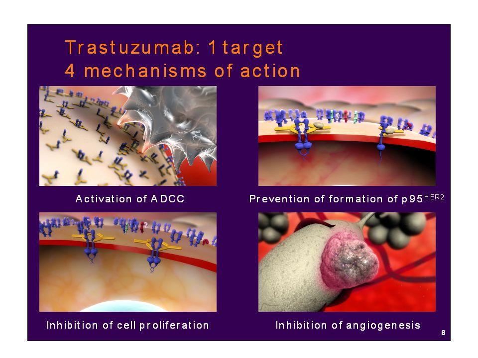 Carcinoma della mammella: Trastuzumab +Paclitaxel vs Paclitaxel (HER+++) Trastuzumab + Paclitaxel PaclitaxelP-value Median TTP (mos.) 6.9 3.0 <0.001 OR (%) 38.0 16.0 <0.001 Median duration 10.5 4.5 <0.001 Median TTF (mos)5.82.9 Median OS (mos) 22.1 18.4 <0.05 Slamon NEJM 2001