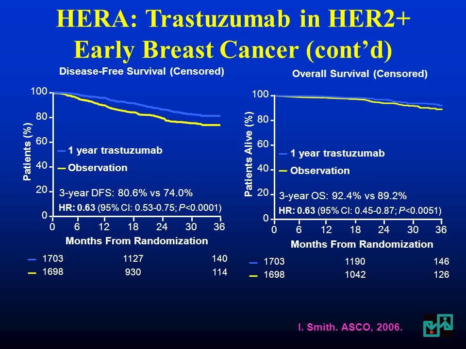 DFS a 3 anni (1a T vs O) –ITT: Hazard Ratio 0.64, P<0.0001 OS a 3 anni (1a T vs O) –ITT: HR 0.66, P=0.015 Principale tossicità: cardiotossicità Risultati simili in altri 4 studi, particolarmente NSABP B31 (AC Tax ±Trastuzumab) Trastuzumab nella terapia adiuvante del carcinoma mammario HER2+ (HERA trial) Smith I.