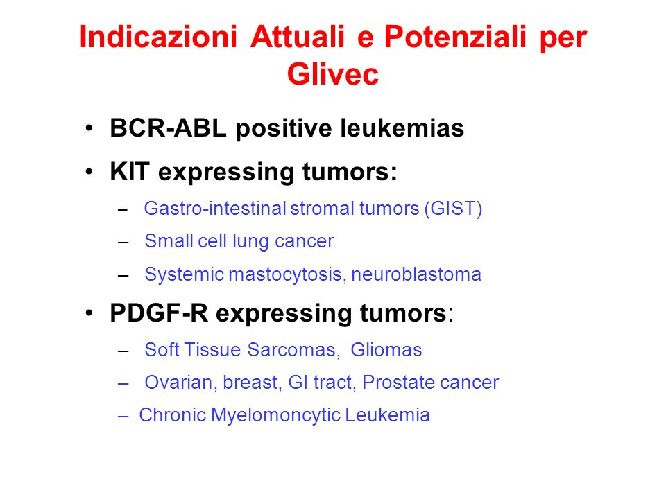 Resistenza a Glivec Si sviluppa nella maggior parte dei pazienti entro 18 to 26 mesi Deriva da mutazioni aggiuntive nelle diverse KIT or PDGFR A kinasi Richiede nuovi farmaci con target specifico, per riportare la malattia sotto controllo