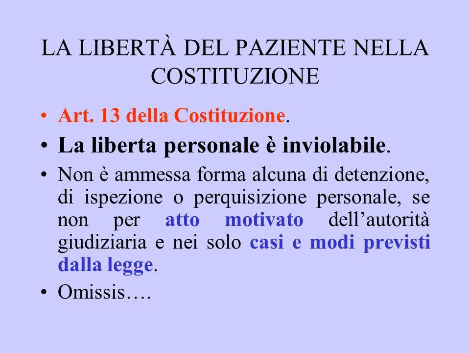 LAUTONOMIA DEL PAZIENTE NELLA COSTITUZIONE Art.