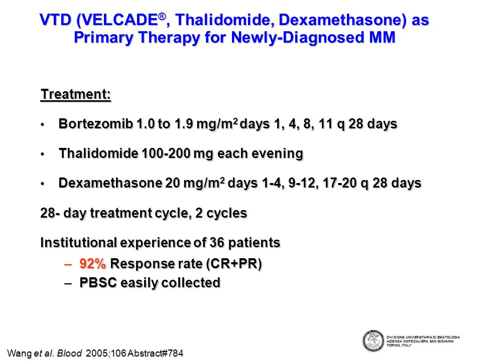 A phase I/II study of Bortezomib plus Melphalan and Prednisone (V-MP) in Elderly Untreated MM patients Mateos et al.