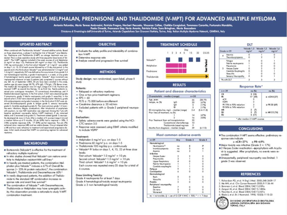 Protocol GIMEMA-MM-03-05 DIVISIONE UNIVERSITARIA DI EMATOLOGIA AZIENDA OSPEDALIERA SAN GIOVANNI TORINO, ITALY A PHASE III, MULTI-CENTER, RANDOMIZED OPEN LABEL STUDY OF VELCADE, MELPHALAN, PREDNISONE AND THALIDOMIDE (V-MPT) Versus VELCADE, MELPHALAN, PREDNISONE (V-MP) IN ELDERLY UNTREATED MULTIPLE MYELOMA PATIENTS