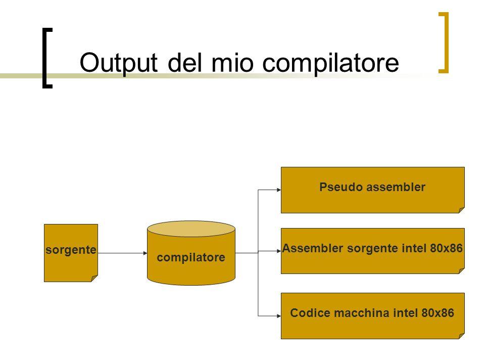 esempio Programma sorgente Pseudo assembler sub somma(a,b) { local(z); z=a+b; return(z); } main() { x=$somma(1,3); } 1-jump 12 2- init_funz 3- create_local(2) 4- load stack_bp(6) 5- add stack_bp(4) 6- store stack_bp(-2) 7- load stack_bp(-2) 8- destroy_local(2) 9- end_funz 10- destroy_local(2) 11- end_funz 12- init_funz 13- loadc 1 14- push 0 15- loadc 3 16- push 0 17- call 2 18- destroy_local(4) 19- store 23 20- halt 21- destroy_local(0) 22- end_funz 23- dw 0 24- block(2)
