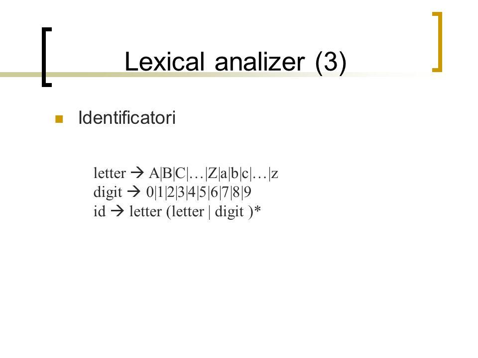 parser (1) Il linguaggio e riconosciuto dal parser tramite grammatiche context-free o BNF Assumiamo il parser come una rappresentazione di un albero di parsing per i token generati dal lexical analizer