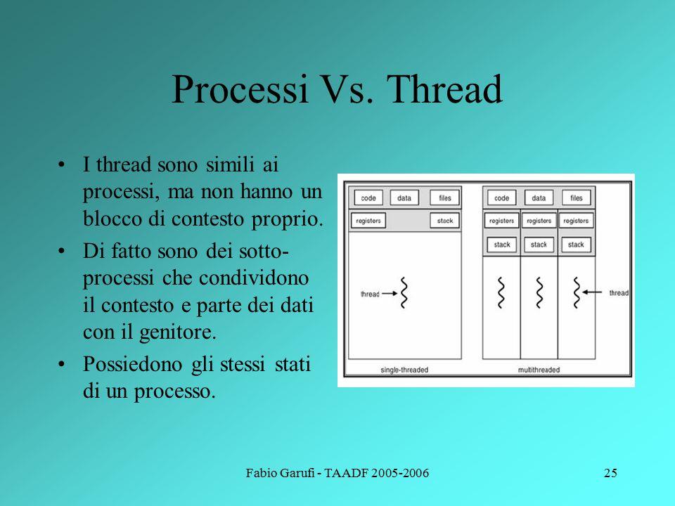 Fabio Garufi - TAADF 2005-200626 Vantaggio dei thread Somma dei numeri da 1 a N: Singolo processo: 1.Inizializza la variabile somma a 0 2.Finché i<N 3.somma=somma+I 4.Incrementa I 5.Torna a 2 6.Stampa e esci Due thread: Processo genitore 1.Inizializza la variabile somma a 0 2.Lancia processo somma pari 3.Lancia processo somma dispari 4.Aspetta la fine 5.Stampa ed esci Due thread: Thread pari 1.Inizializza la variabile sum_p a 0 2.Per i da 2 a N 3.sum_p = sum_p+i 4.i= i+2 5.torna a 2 6.somma= somma+sum_p Due thread: Thread dispari 1.Inizializza la variabile sum_d a 0 2.Per i da 1 a N-1 3.sum_d = sum_d+i 4.i= i+2 5.Torna a 2 6.somma= somma+sum_d Parallelismo =>Grande vantaggio su architetture multiprocessore