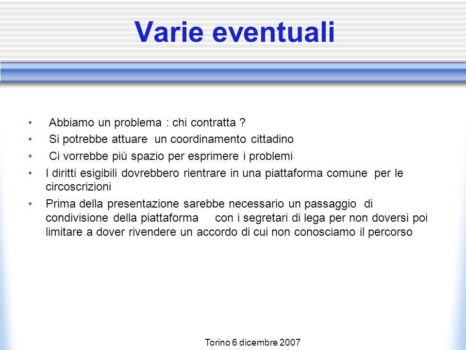 Torino 6 dicembre 2007 Varie eventuali Abbiamo un problema : chi contratta .