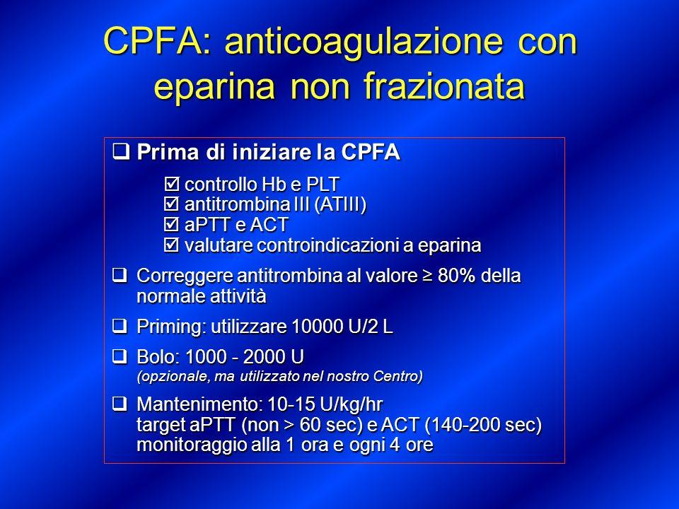 CPFA: anticoagulazione con eparina non frazionata - Tabella di correzione - ACT Target (140-200 sec) aPTT Target (50-60 sec) Risposta < or = Paziente normale <35 Bolo 80 U/kg o Incremento infusione di 4 U/kg/hr < 1.3 x Paziente normale 35-50 Bolo 40 U/kg o Incremento infusione di 2 U/kg/hr 1.4 – 1.9 x Paziente normale 51-60 Infusione invariata 2.0 - 2.5 x Paziente normale 61-80 Decremento infusione di 2 U/kg/hr > 2.5 Paziente normale >80 Stop infusione per 1 ora, riavvio infusione ridotta di 3 U/kg/h