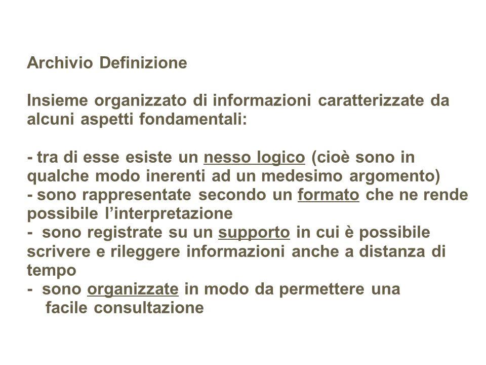 Esempio: Elenco Telefonico Descrizione: è un archivio di dati dove sono raccolte le informazioni che riguardano gli abbonati al telefono di una provincia.
