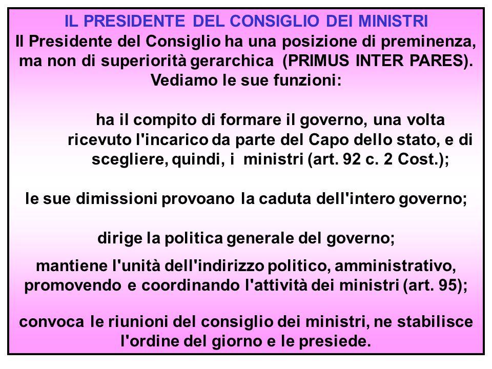 5 I MINISTRI Ciascun ministro è a capo di un particolare ramo della pubblica amministrazione che viene chiamato ministero o dicastero.