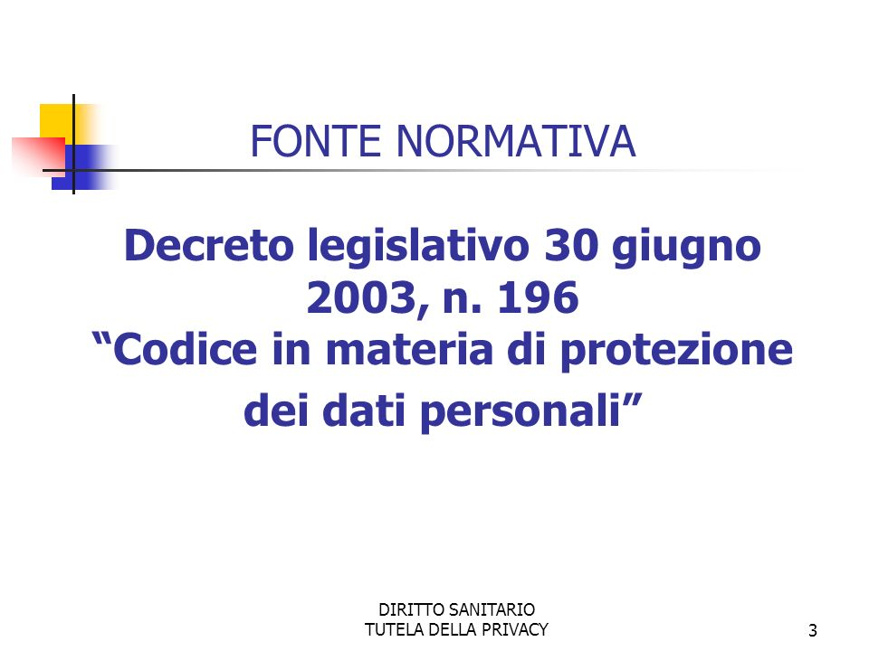DIRITTO SANITARIO TUTELA DELLA PRIVACY4 DISPOSIZIONI GENERALI DISPOSIZIONI RELATIVE A SPECIFICI SETTORI TUTELA DELL INTERESSATO E SANZIONI FONTE NORMATIVA