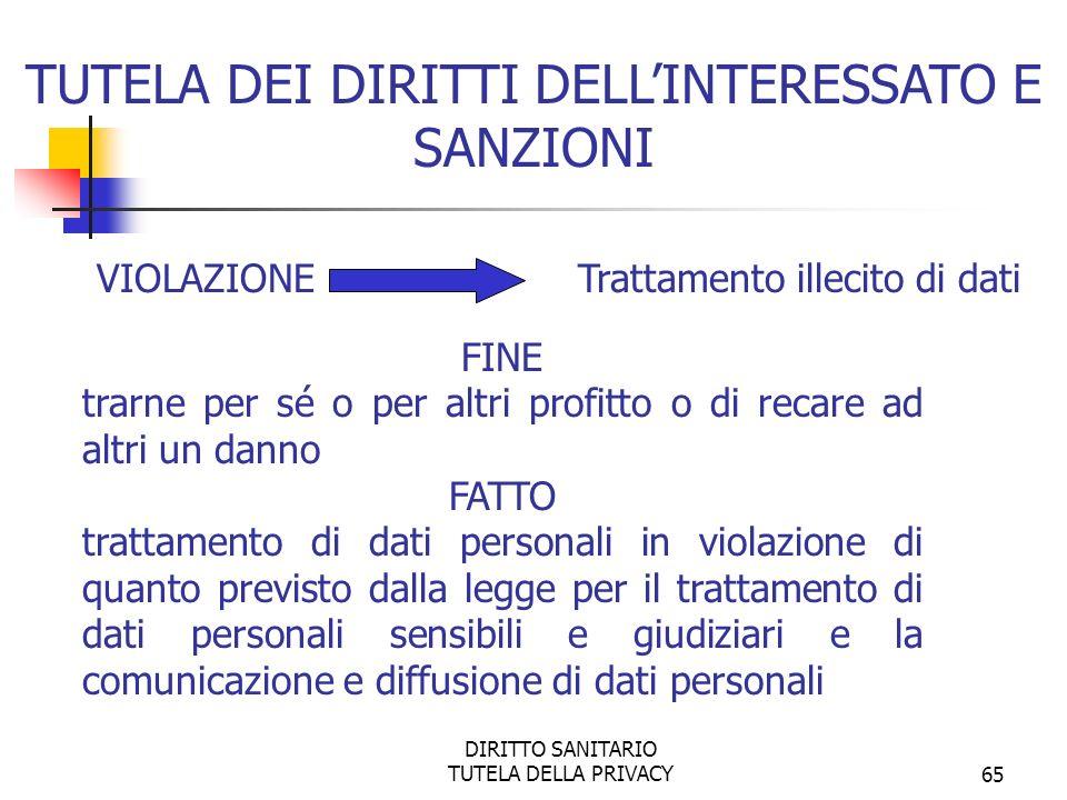 DIRITTO SANITARIO TUTELA DELLA PRIVACY66 SANZIONE PENALE la reclusione da uno a tre anni TUTELA DEI DIRITTI DELLINTERESSATO E SANZIONI