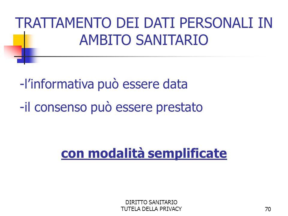 DIRITTO SANITARIO TUTELA DELLA PRIVACY71 - per informare l interessato relativamente ai dati personali richiesti allinteressato stesso o acquisiti da terzi - per manifestare il consenso al trattamento dei dati personali - per il trattamento dei dati personali TRATTAMENTO DEI DATI PERSONALI IN AMBITO SANITARIO MODALITÁ SEMPLIFICATE PER INFORMATIVA E CONSENSO