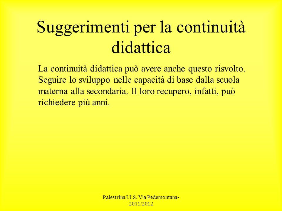 Palestrina I.I.S.Via Pedemontana- 2011/2012 Testi di Riferimento Cornoldi C.
