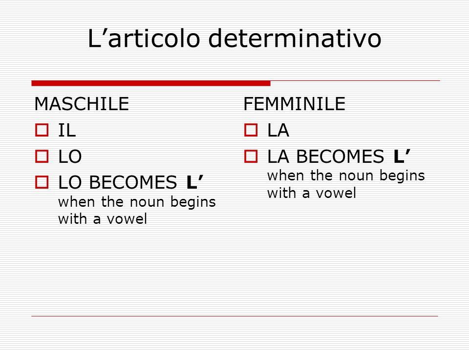 The use of LO LO IS USED WHEN: The noun begins with a Z The noun begins with S + consonant The noun begins with PS The noun begins with GN LO ZAINOLO STATO LO PSICOLOGOLO GNOCCO