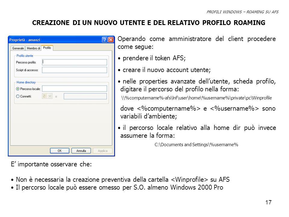 18 Per rendere operativa la configurazione sarà necessario effettuare in sequenza il login – logoff come nuovo utente.