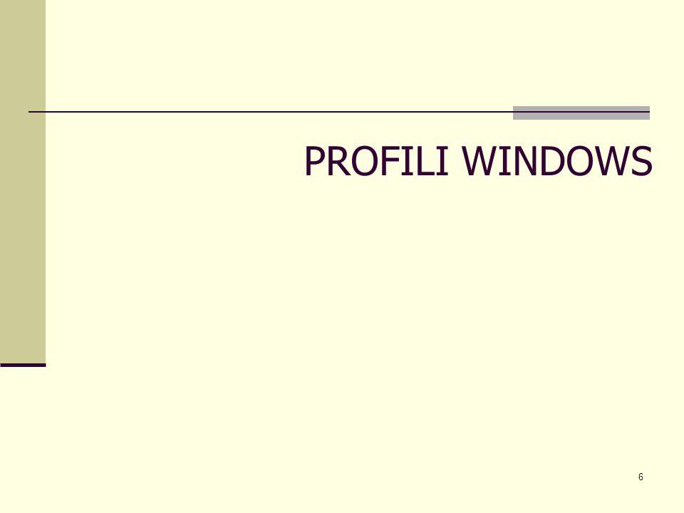 7 Un profilo utente windows stabilisce una relazione tra account utente e le impostazioni ad esso relative Esso contiene le informazioni di configurazione per il desktop, le risorse e le connessioni di rete, le applicazioni In particolare, oltre ai file di impostazione, il profilo utente incorpora anche file utente memorizzati allinterno della cartella Documenti In tal senso un profilo utente è di fatto un environment utente che, in Windows 2000/XP, è memorizzato per default localmente, allindirizzo: unità di sistema\Documents and Settings\nome_user Lapproccio al concetto di Profilo è un tentativo di evoluzione nella gestione, a livello di S.O., di uno spazio utente, emulando quanto avviene in Unix nella directory home.