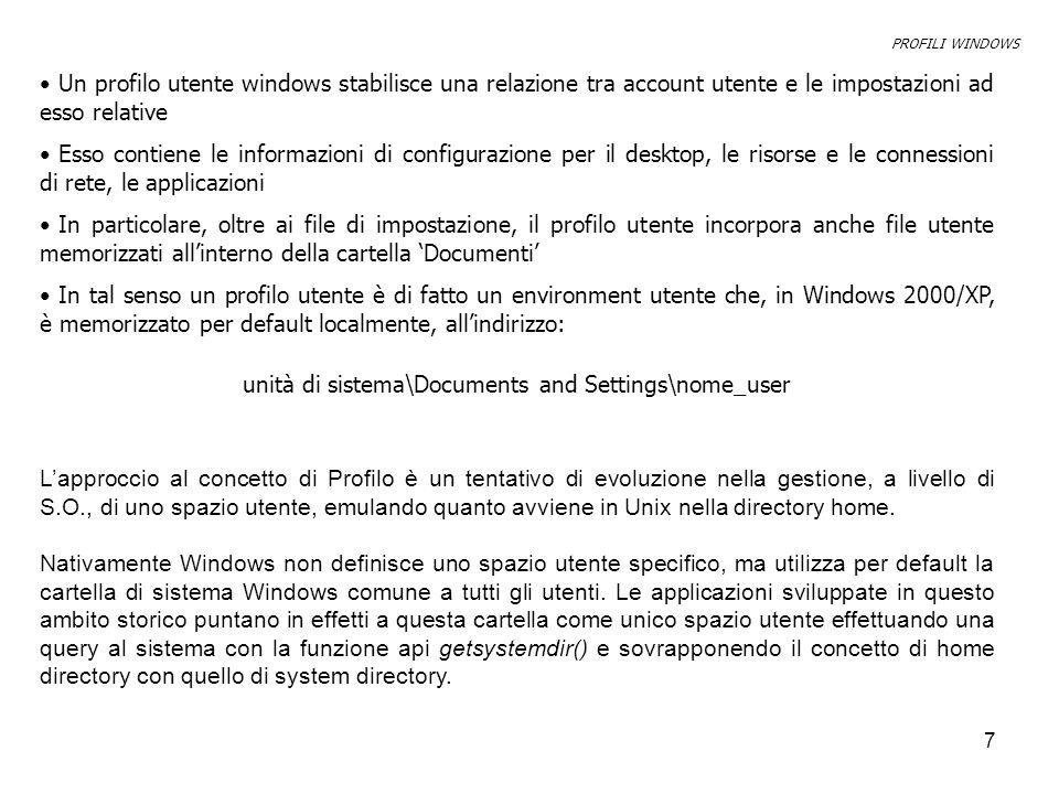 8 Windows 98 intorduce il concetto di Profilo quale sottospazio utente della system dir, al quale accedere mediante nuove funzioni api, disponibili in nuovi file.dll.