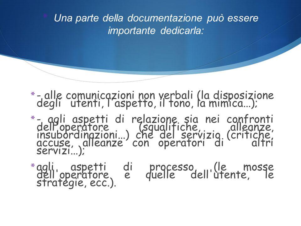 * LA DOCUMENTAZIONE * Poiché il colloquio è uno strumento di lavoro è necessario che ne vengano documentati i passaggi significativi (gli obiettivi, l ipotesi, le aree da sondare, le informazioni da raccogliere..): * per l operatore come supporto metodologico alla correttezza del processo di aiuto.