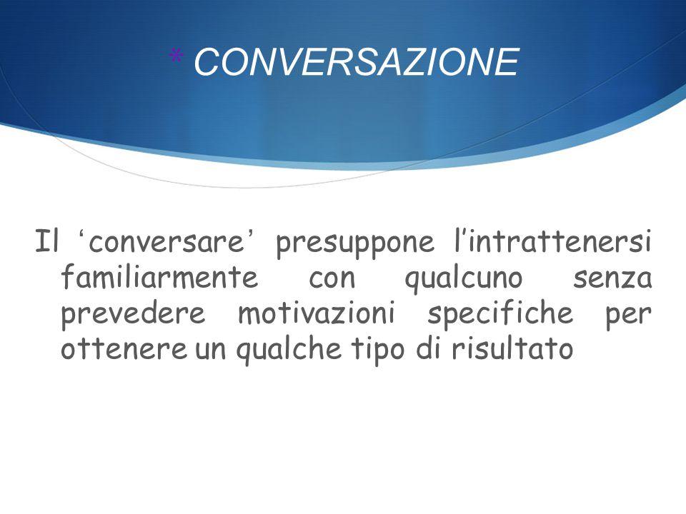 * INTERVISTA con il termine intervista si intende l' azione di una persona verso qualcun altro consenziente, ma che non è il soggetto destinatario ultimo delle informazioni raccolte.
