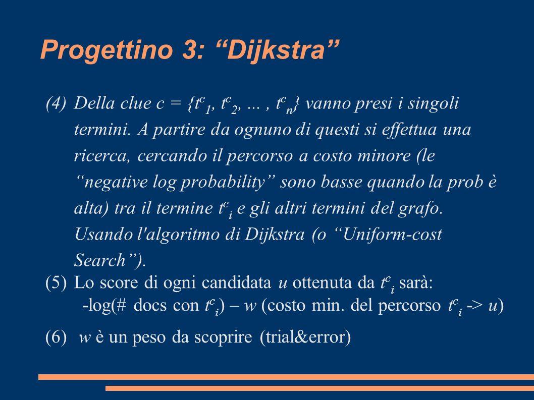Progettino 3: Dijkstra (4)Della clue c = {t c 1, t c 2,..., t c n } vanno presi i singoli termini.