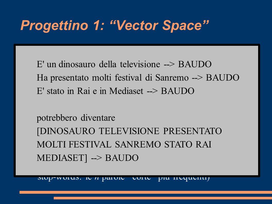 Progettino 1: Vector Space (1)Per ogni soluzione s nel database si costruisce un documento d formato dalla concatenazione delle definizioni che hanno s come risposta.