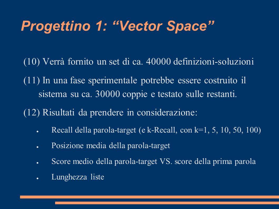 Progettino 1: Vector Space (10) Verrà fornito un set di ca.