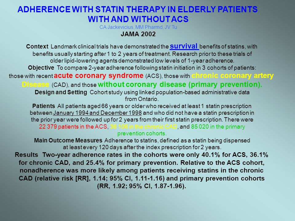 Conclusions Elderly patients with and without recent ACS have low rates of adherence to statins.