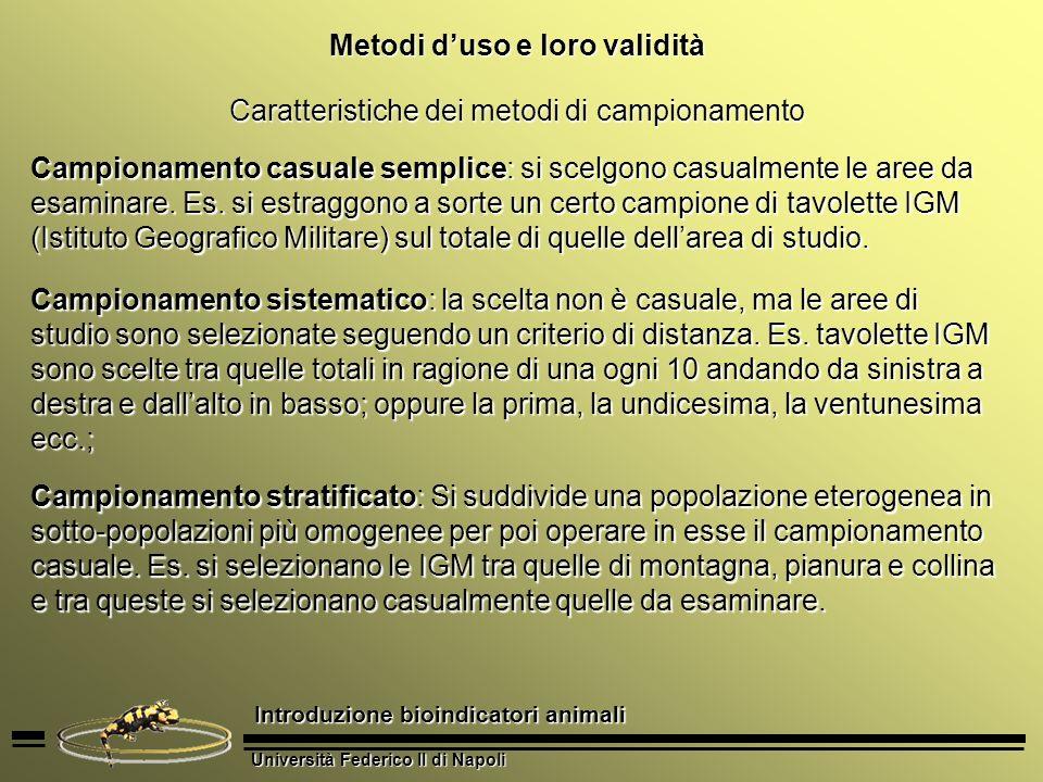 Università Federico II di Napoli Introduzione bioindicatori animali Metodi duso e loro validità Proprietà fondamentali del metodo di campionamento Rappresentatività: capacità di riflettere fedelmente nei campioni le caratteristiche dellintera popolazione.