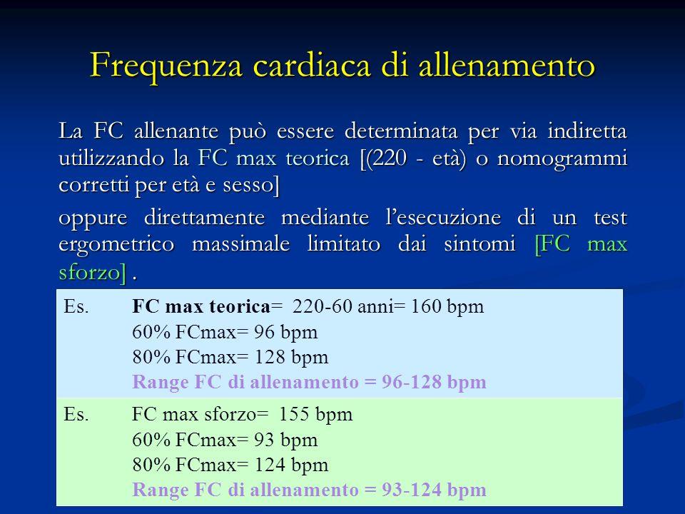 Riserva di frequenza cardiaca ( Metodo di Karvonen) Utilizza la frequenza di base del soggetto come zero, calcolando la percentuale di intensità del training sulla differenza tra frequenza a riposo e frequenza cardiaca massima.