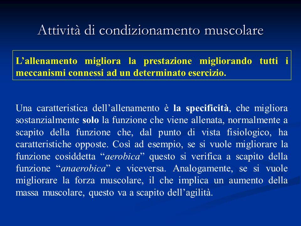 Il condizionamento muscolare è la capacità di allenare i propri muscoli ad un grado di contrazione diversa da quella normale, ottenendo una migliore risposta neuromuscolare (tono), una migliore resistenza (endurance) ed un miglior stato nutrizionale (trofismo).