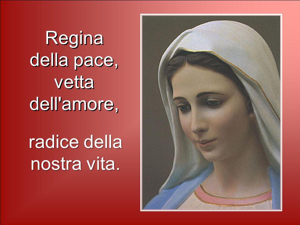 Regina della pace, vetta dell amore, Regina della pace, vetta dell amore, radice della nostra vita.