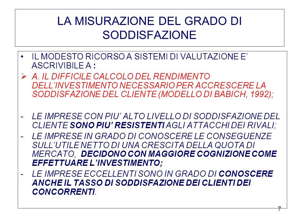 8 LA MISURAZIONE DEL GRADO DI SODDISFAZIONE B.