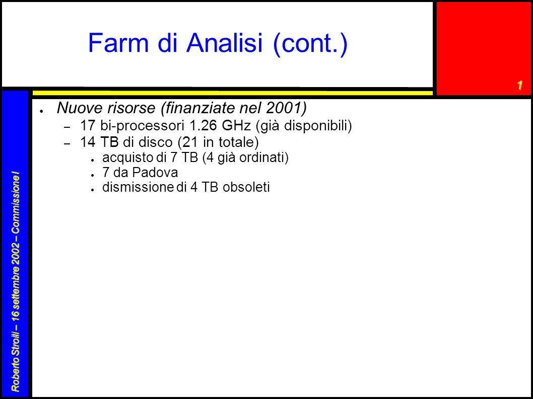 1 Roberto Stroili – 16 settembre 2002 – Commissione I Farm di produzione Monte Carlo – 1 server Linux, bi-prcessore, PIII 800 MHz, 512 MB RAM (lockserver di Objectivity, NFS, code batch, MocaEspresso) – 14 clienti Linux: bi-prcessore, PIII 800 MHz, 768 MB RAM – disco: 2 array RAID EIDE da 0.5 TB l uno ● il rate di produzione è di 3.5 M eventi/mese ● efficienza di produzione molto buona ● prodotti 30 M eventi in un anno – solo il 3.5% del Monte Carlo prodotto dalla collaborazione ● nuove risorse (finanziamento 2001): ● 17 bi-processori 1.26 GHz (si stanno installando) ● 1 TB di disco aggiuntivo + server ordinati – con queste risorse aggiuntive e con l utilizzo della farm di analisi, quando questa risulta disponibile, si pensa di poter incrementare la produzione a 9-10 M eventi/mese